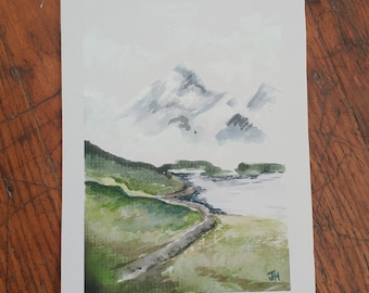 Mountain Scene Watercolor Painting