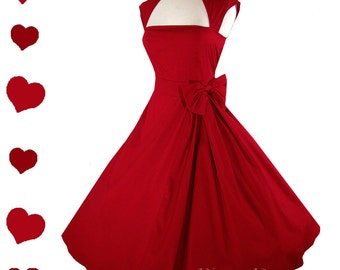 Red Rockabilly Dress / 50s Red Dress / Pinup Dress / Party S M L Xl XXL 1X 2X 3X Plus Size Vintage Style Full Skirt Collar Bow Swing Dance