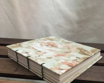 Coptic Bound Journal Sketchbook - Mint green & peach floral