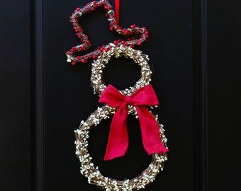 Snowman Wreath - Christmas Wreath - Christmas Door Wreath - Choose Bow