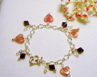 Lampwork Hearts Bracelet