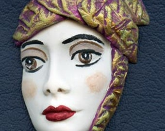 Polymer Clay Profile One of a kind Detailed and textured Face Shard  WFSH 1