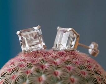 White Topaz Stud Earrings - Square White Topaz Earrings - Emerald Cut White Topaz Earrings set in Sterling Silver -Free Shipping