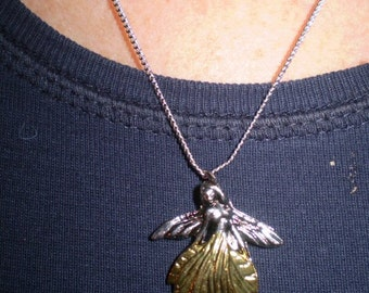 Vintage English Mystical and Magical Leaf Faery Necklace,Renewal,Life Cycles,Pet Loss,Bereavement,