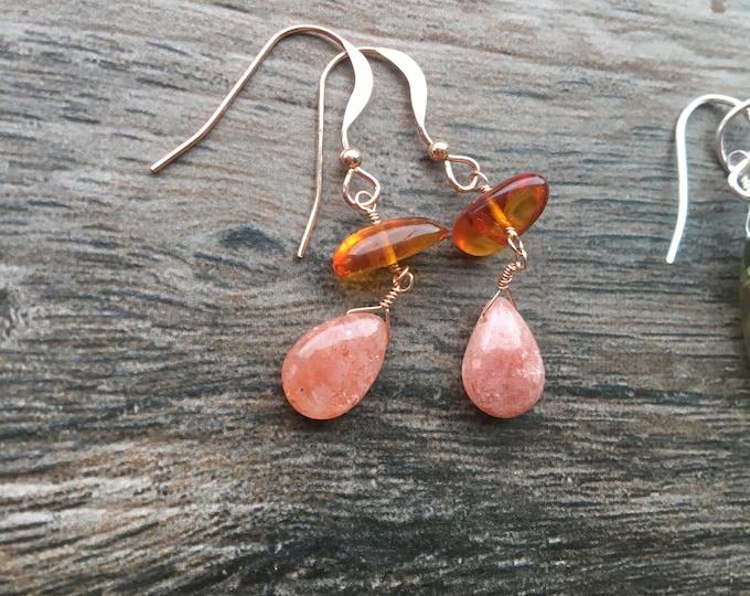 Amber Sunstone and Rose Gold Earrings Dangle Drop Orange Gift Talisman Inspirational Good luck