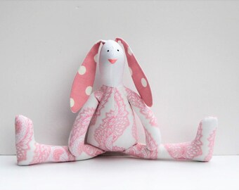 Stuffed rabbit toy bunny pink white paisley and polka dot hare plush Easter bunny doll softie stuffed toy baby shower nursery decor