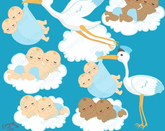 Twins Delivery Clipart Set