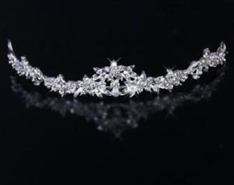 Wedding Bridal Tiara Headpiece Headband Rhinestone Couture Ribbon Flowergirl Bride