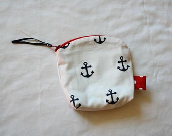 Anchors Zip Pouch Essential Oil Holder--Oil Pouch--Purse--Navy, Red, White--Coin Purse
