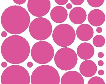 34 Bubble Gum Polka Dot Stickers Removable Polka Dot Wall Decals