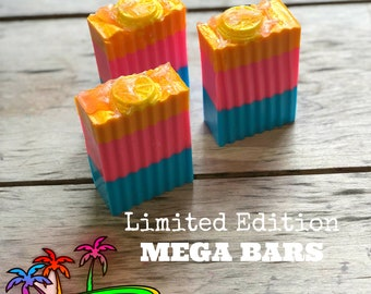 soap, tropical scented soap, bright neon soap, pineapple soap, beach bum soap, large bars, pina colada soap, handcrafted soap
