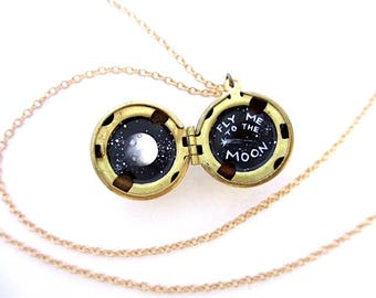 Fly Me to the Moon Necklace, Water-Marked Brass Locket, Miniature Secret Oil Painting