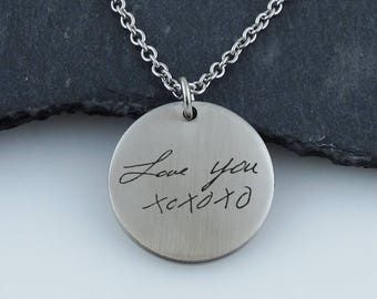"Personalized Handwriting Circle Pendant Necklace - Stainless Steel - 18"" Chain"