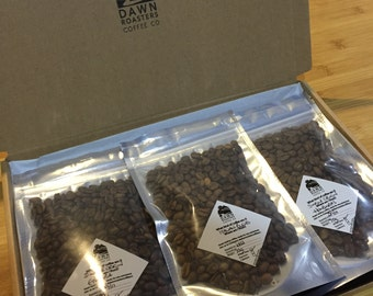 Single Origin Coffee Taster Pack - Freshly roasted, great gift, neatly boxed! Whole beans, espresso or cafetiere - Choose size