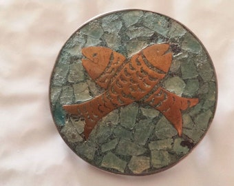Vintage Pisces Fish Mexican Silver Pendant Brooch