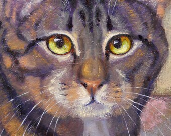 NEW Gray brown tabby cat holds rose in oil painting on stretched canvas