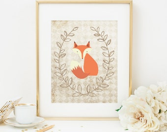 Fox Printable Fox Nursery Print Woodland Nursery Decor Gold Nursery Wall Art Boho Fox Print Woodland Animal Print Shabby Nursery Decor