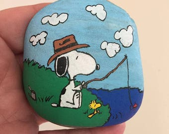 Snoopy Fishing Painted Rock