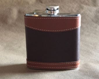 Great Graduation or Groomsmen Gift Ready to Ship Two Tone Brown and Tan Leather 6 ounce Stainless Steel Gift Flask KR2D7120