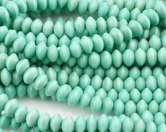 Wood Beads-8x5mm Saucer-Turquoise-16 Inch Strand