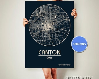 CANTON Ohio CANVAS Map Canton Ohio Poster City Map Canton Ohio Art Print Canton Ohio poster Canton Ohio map art Poster Canton Ohio map