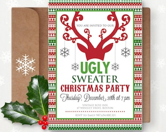 Printable Christmas Party Invitation Instant Download Ugly Sweater Editable Christmas Card Digital Christmas Holiday Party Holiday Card
