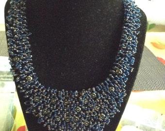 Deep Blue Bib Necklace