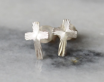 Sterling Silver Cross Stud Earrings - Tiny 925 Post - Crucifix - For Pierced Ears - Diamond Cut Pattern - New Old Vintage 1970s Stock