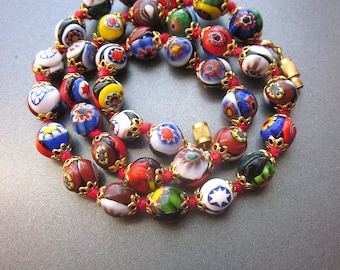 Millefiori Beaded Vintage Necklace Murano Glass Beads