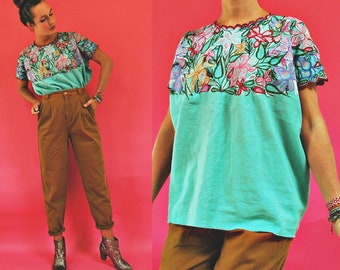 vintage Zinacantan Turquoise Green & Floral Embroidered Mexican Blouse