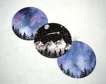 Watercolor Starry Sky Naturalistic Round Glossy Paper Stickers x3