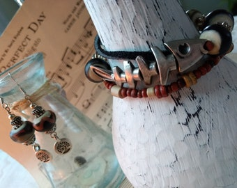 Gorgeous Handmade Black, Rust and Cream Lampwork three stranded bracelet and earring set with Silver Fish Bone focal  and  Seed Beads