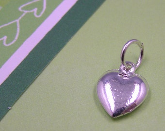 Silver Puffed Heart Charm 3D Valentines Charm