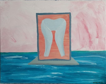 Forbidden -- Acrylic Abstract Blue Water Red Sky Portal Painting