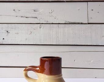 Vintage ceramic wide bottom travel mug | tea mugs | tan mugs | vintage mug