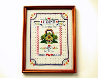 Framed Cross Stitch Yellow Cottage Flowers Trees Red Hearts Colorful Rainbow Hand Crafted Wall Hanging Housewarming Gift Wedding Gift