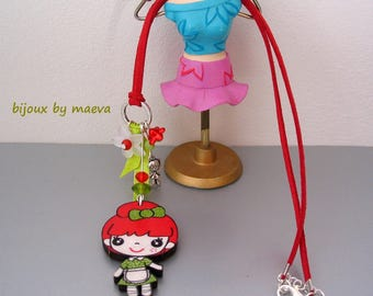 Children's Necklace red and green pattern little girl