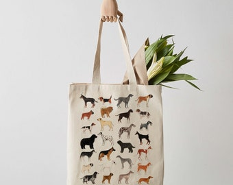 Dog Tote Bag, Canvas Tote Bag, Fair Trade, canvas bag, dogs, shoulder bag, shopper, dog lover gift, weekender bag, tote bag canvas