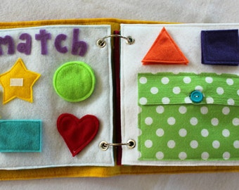 Match the Shapes- 2 Page Quiet Book Set to Expand Your Custom Handmade Quiet Book