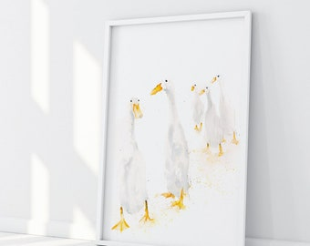 "Original Watercolour Painting ""Runner Ducks - Standing"" - 30""x22""  56cmx56cm"