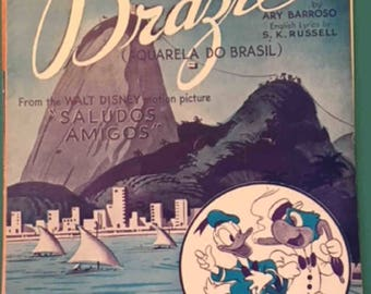 Original Sheet Music Walt Disney's Motion Picture BRAZIL from Saludos Amigos-1942