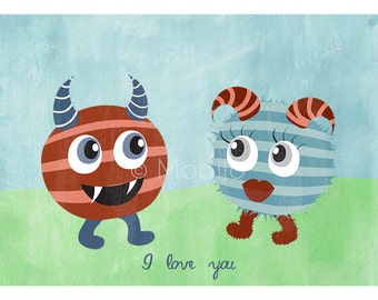 DIGITAL Monster postcard-postcard sized instant download of original acrylic doodle