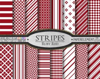 Ruby Red Striped Digital Paper Pack - Instant Download - Stripes and Diamond Patterned Paper for Digital Scrapbooking