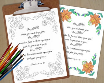 The LORD bless you and keep you - Numbers 6:24-26 - Printable Bible Verse Christian Wall Art - Scripture Coloring Prints - Instant download