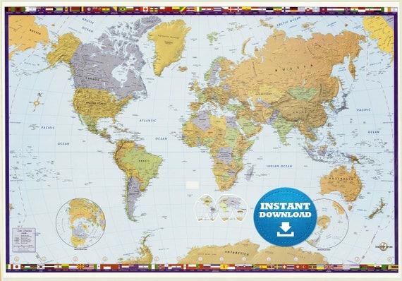 Digital Modern World Map Hight Printable Download Large - High resolution world map