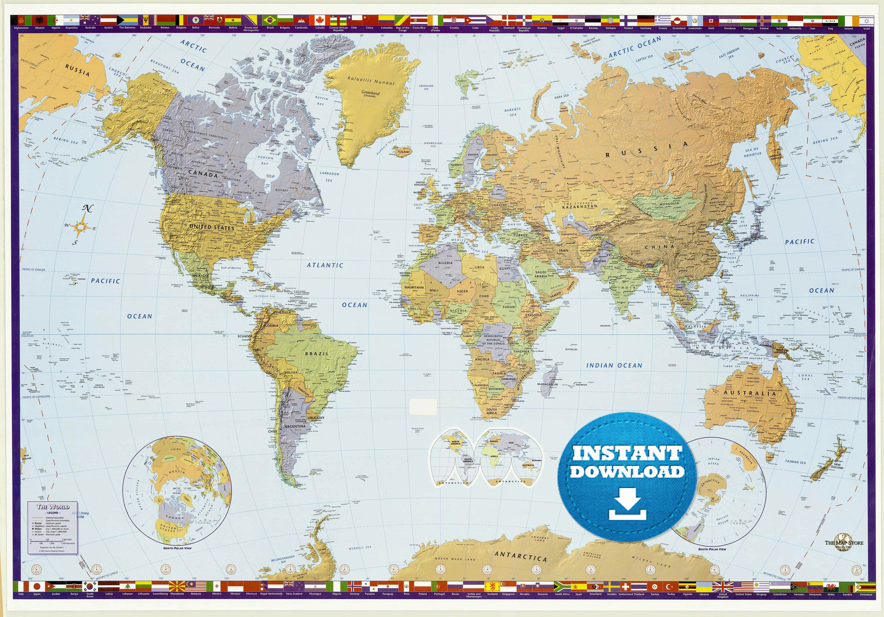 Digital modern world map hight printable download large zoom gumiabroncs Choice Image