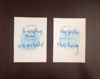 """Silver Linings  quote """"shot at a silver lining"""" art hand-drawn print"""