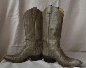 Beautiful vintage gray Tony Lama cowboy boots