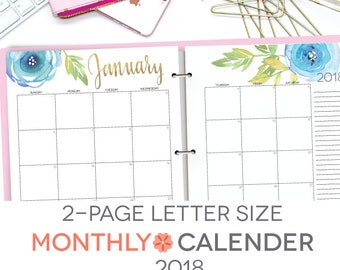 "Printable Calendar 2018, Editable, Digital Monthly Pages, Letter Size 8.5"" x 11"" Two Page Spread, Instant Download, Portrait"