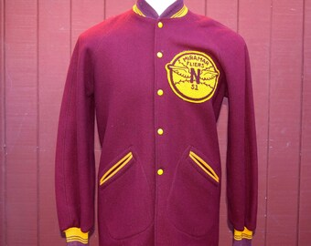 50s 1951 Burgundy Wool USMC Miramar Fliers Baseball Stadium Jacket / Coat Sz 38
